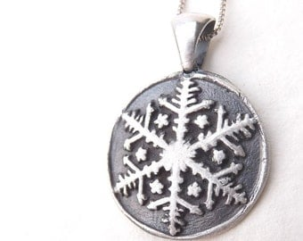 Frozen snowflake winter necklace Disneybound pendant made from recycled silver, custom made to order