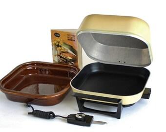 Teflon Sunbeam Electric Skillet Easy Clean Cradle Stoneware Crock Insert (Crocker Frypan FP-BD)