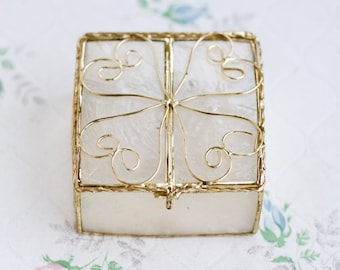 Mother of Pearl jewelry Box - Antique Mop and Square Hexagonal Case