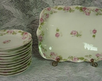 Antique Mignon Z S & C Bavaria ZEH SCHERZER Serving Tray and 11 Bread and Butter / Dessert Plates - Pink Roses