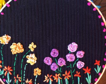 Hoop art, modern hand embroidery, embroidered flowers
