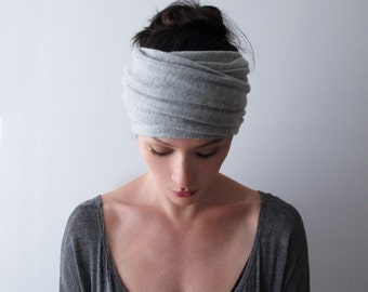 COZY Fleece Jersey Hair Wrap - HEATHER GREY Head Scarf - Extra Wide Head Scarf - Yoga Headband - Bohemian Headband - Boho Jersey Head Scarf