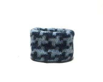 XX Small Blue Wool Houndstooth Dog Neck Warmer, Handmade Designer Dog Accessory