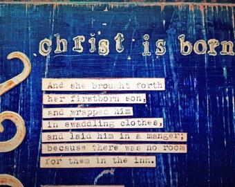 Christ Is Born Luke 2 Christmas Story Wall Art by Jodene Shaw Bible Verse