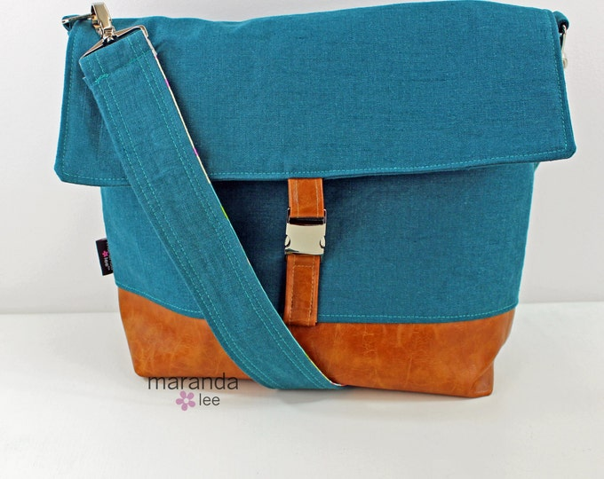Lulu Large Flap Messenger Satchel  - Teal Linen and PU Leather Travel Business Nappy Bag Stroller Attachment