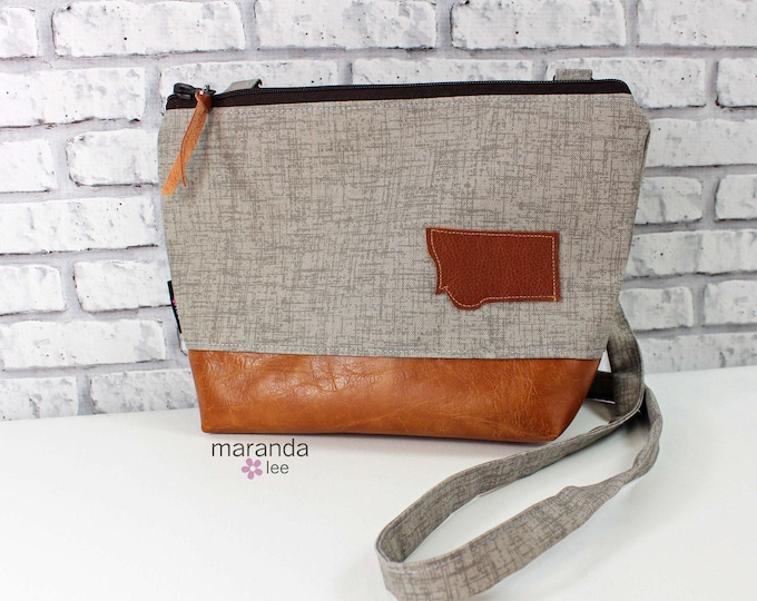 BRI Large Messenger Bag Oyster Denim with Montana Patch - READY to SHIP
