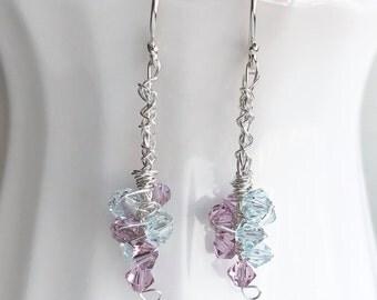 Elegant Drop Darrings Purple Blue Silver