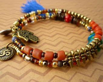 Colorfully Beaded Tassel Memory Wire Charm Bracelet