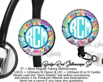 Nurse Badge ID Set, Monogram Stethoscope ID Tag and Badge Reel Combo Set, Monogram Flowers In Watercolor, READ Listing Carefully