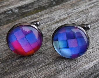 Color Brick Cufflinks. Wedding, Valentine Gift, Groomsmen, Dad, Anniversary, Birthday, Abstract. ROYGBIV.