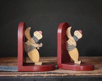 Vintage bookends, wooden bookends
