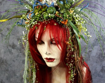 SPRING SALE: Ocean Starfish Mermaid - Siren Fairy Full Red Wig Hair Headpiece Costume Renaissance Wedding BOHO