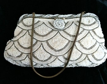 Vintage Micro Beaded Evening Bag, Fish Scale Design, Made in France