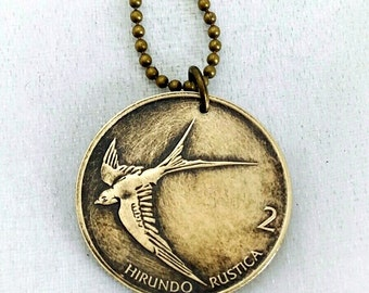 Coin Jewelry - BIRD COIN necklace - Barn Swallow  -  Flying bird - sparrow - bird necklace - bird jewelry - Slovenia - vintage bird pendant