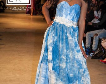 Blue Skies Ballgown. Dyed with natural indigo, made of all natural fibers, cotton and linen. Boned bodice with lace up back. Size small.