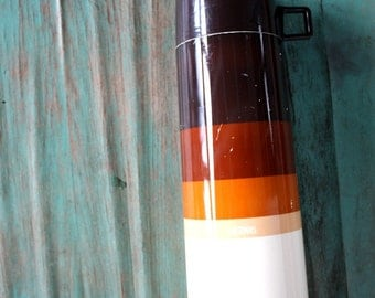 Brown Ombre Tall Thermos, Vintage Metal and Plastic Thermos, Home Decor, Camping, King-Seeley