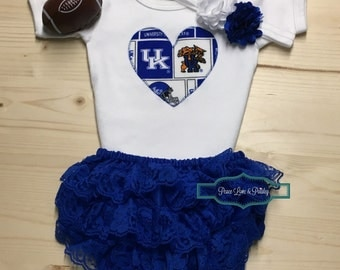 Kentucky Wildcats Baby Girl Bodysuit, Ruffle Diaper Cover and Headband, KY Baby, Wildcats Baby Girl Outfit, Kentucky Baby, Baby Shower Gift