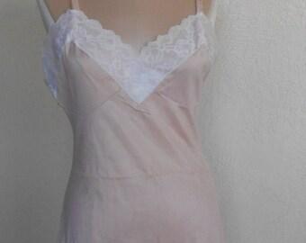 Vintage Full Slip Movie Star Size 34 Slip Dress Pink