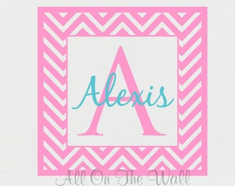 Chevron Wall Decal Baby Girl Decal Baby Boy Monogram Wall Decal Nursery Monogram Name Kids Vinyl Lettering Name And Initial Decals Wall Art