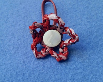 Red Plarn Flower Ponytail Holder with Vintage Mother of Pearl Button