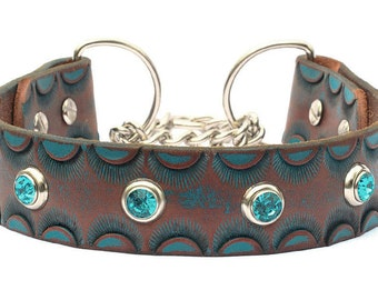 """Turquoise Martingale Leather Dog Collar, Leather Chain Collar. Turquoise Green Leather Collar, Made in USA,  18""""-19"""" or custom"""