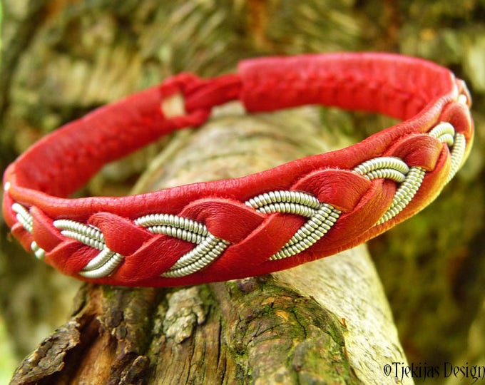 Sami Lapland Red Viking Bracelet ODIN Womens and Mens Leather Cuff with Tin Thread Braid - Custom Handmade Nordic Folklore