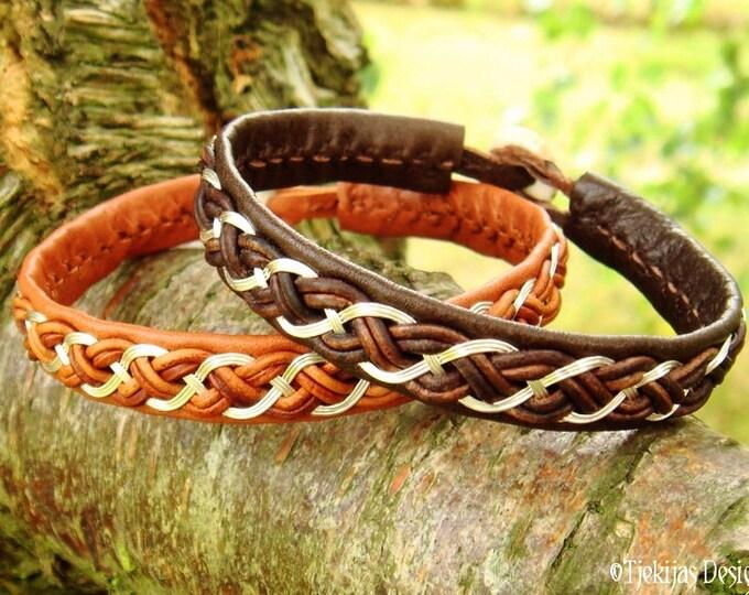 Shieldmaidens and Vikings Brown Leather and Silver Bracelet Cuff - Custom Handmade Scandinavian Sami Jewelry from Tjekijas Design