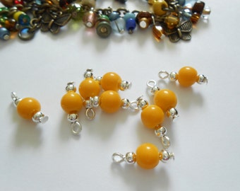 Goldenrod/Silver Plated Opaque Glass Dangle Beads