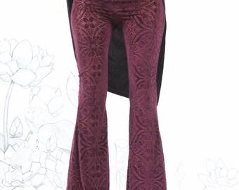 Burgundy Velvet Burnout Bell Bottoms - burgundy bell bottoms,  velvet bell bottoms, hippie chick carousel ink