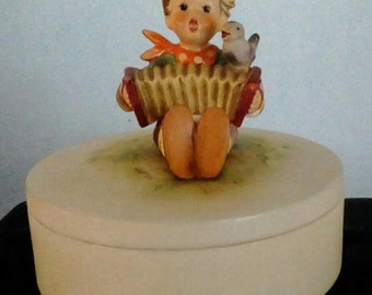 Vintage Signed Hummel Let's Sing Covered Candy Dish, Trinket Dish, TMK - 4
