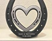 Personalized engraved anniversary gift, 6th iron or 11th steel, horseshoe & heart, engraving incl. in price
