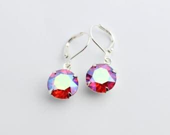Swarovski earrings, Aurora Borealis earrings, hyacinth earrings, red AB earrings, orange earrings,