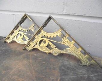 2 Cast Iron Victorian era Antique Shelf Brackets - Brass over Iron - Original Genuine - Repurpose Industrial Steampunk Rustic Holder - Pair