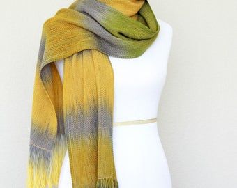 Woven scarf, pashmina scarf, gift for her, gift for him in yellow, mustard, grey and moss green, wool scarf, unisex scarf