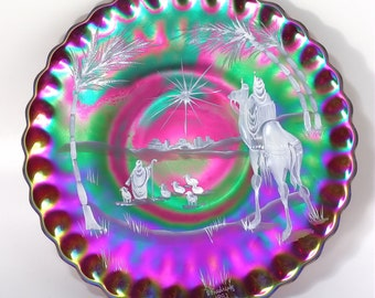 1992 Fenton Ruby Red Carnival Glass Star of Bethlehem Christmas Plate - Handpainted by D Fredrick - Mary Gregory Style