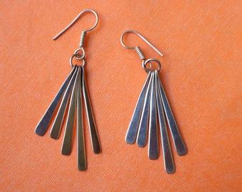 Sterling Fan Earrings / Vintage All Silver Earrings / Minimilist Taxco Jewelry