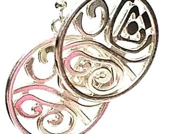 Silver Butterfly Disk Dangle Earrings