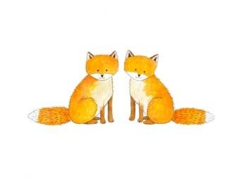 Two Baby Foxes Print - Woodland Nursery Decor