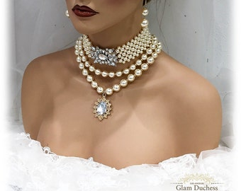 Wedding jewelry set, Victorian Gothic choker necklace earrings set, Bridal choker, bridal jewelry set, Pearl jewelry set, Ballroom jewelry