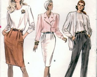 Classic Vintage 1980s Very Easy Vogue 7101 Slim Tapered Skirt and Pants with Seam Interest Sewing Pattern W32-34-36
