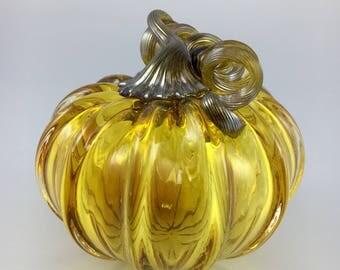 """3.5"""" Glass Pumpkin by Jonathan Winfisky - Transparent Gold Topaz - Hand Blown Glass"""