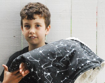NEW!  Organic Cotton and Plush Faux Fur Baby Quilt - Cuddly Crib Quilt - Black and White Constellation Map