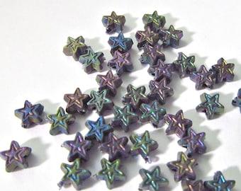 60 Vintage Teeny Tiny Matte Finish Multi-Color Acrylic Star Bead Assortment Bd1918