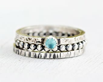 Sterling Silver Swiss Blue Topaz Ring Set  - Hammered Rings - Metalwork - Oxidized Silver -Gift For Her - Set of 3  - December Birthstone