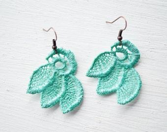 Lace Earrings in Teal Green