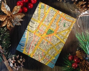 Blank notebook / journal (small), Manhattan map, 128 pages, cotton sheets, Coptic stitched spine, for sketching, drawing or writing