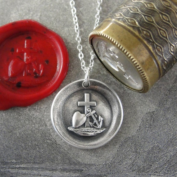 Faith Hope Love Wax Seal Necklace