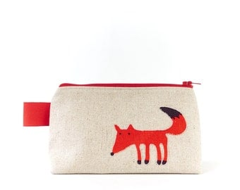 Small Makeup Bag Cute Animal Fabric Cosmetic Pouch Red Fox Bag Squirrel Toiletry Bag