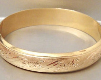 Vintage Gold Filled Hinged Oval Bangle Bracelet, 12K G,F Yellow Gold