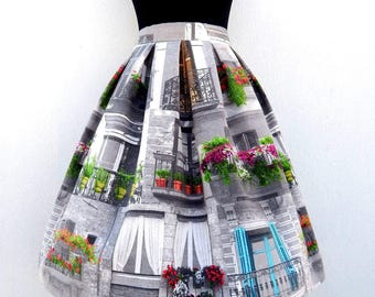 Choose your fabric for your high waisted full skirt, all sizes and plus sizes